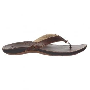 Reef MISS J-BAY Flip Flops - Leather Upper -  Brown / Brown