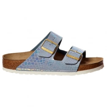Birkenstock Arizona Shiney Snake Birkoflor - Standard Fitting Classic Buckled Two Strap - Flip Flop Sandal