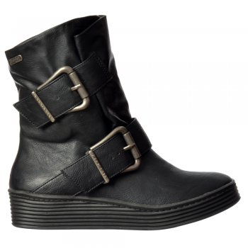 Blowfish Barnaby Wide Fitting Winter Ankle Boot - Double Buckle - Whiskey, Black