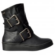 Barnaby Wide Fitting Winter Ankle Boot - Double Buckle - Whiskey, Black