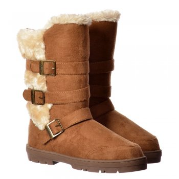 Ella Buckles and Straps Fully Fur Lined Flat Ella Winter Boot - Chestnut Brown, Black