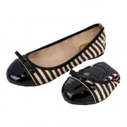 Cara - Folding Ballerina Pumps - Navy / White Stripe, Black / Tan Stripe