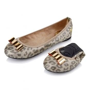 Butterfly Twists Chloe - Folding Ballerina Pumps - Silver Leopard Snake, Stone Snake Iridescent