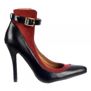 Dolcis Ankle Strap High Back  - Mid Heels Full Toe - Black/Burgundy, Nude/Black