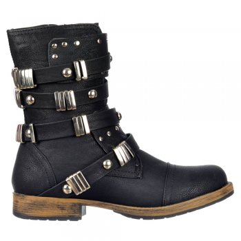 Dolcis Biker Style Military Ankle Boot - Metal Studded Buckle - Black, Brown