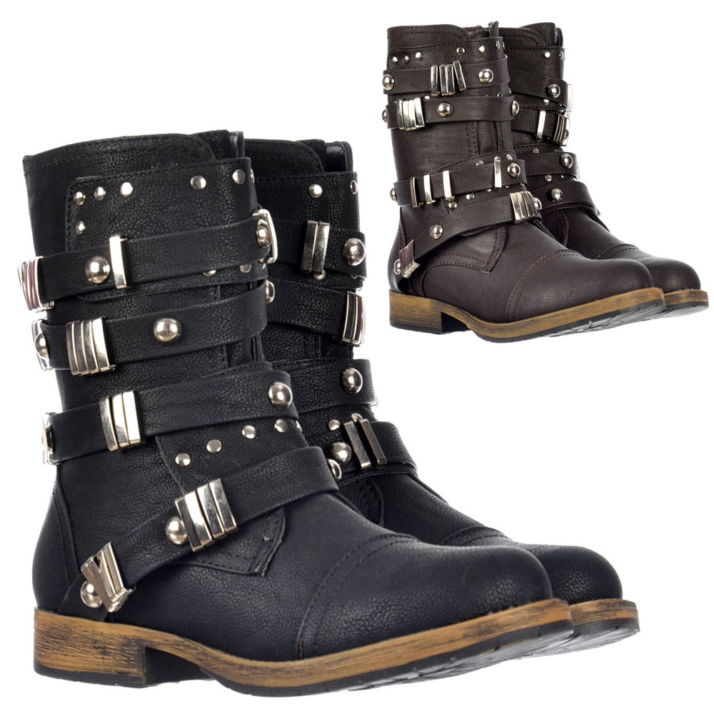 dolcis biker style ankle boot metal studded