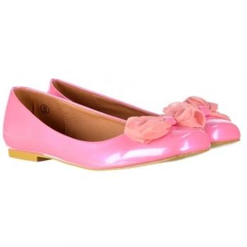 Flat Ballerina Pumps - Pink Chiffon Bow - Pink Patent