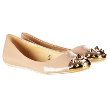 Dolcis Flat Patent Ballerina Pumps - Gold Studded Toe - Beige Patent