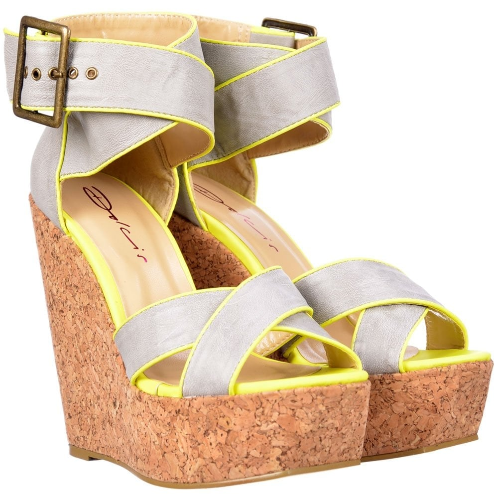 fc3994f2c19 Dolcis Peep Toe Cork Wedge Platforms - Cross Over Ankle Strap - Grey   Lime  Green