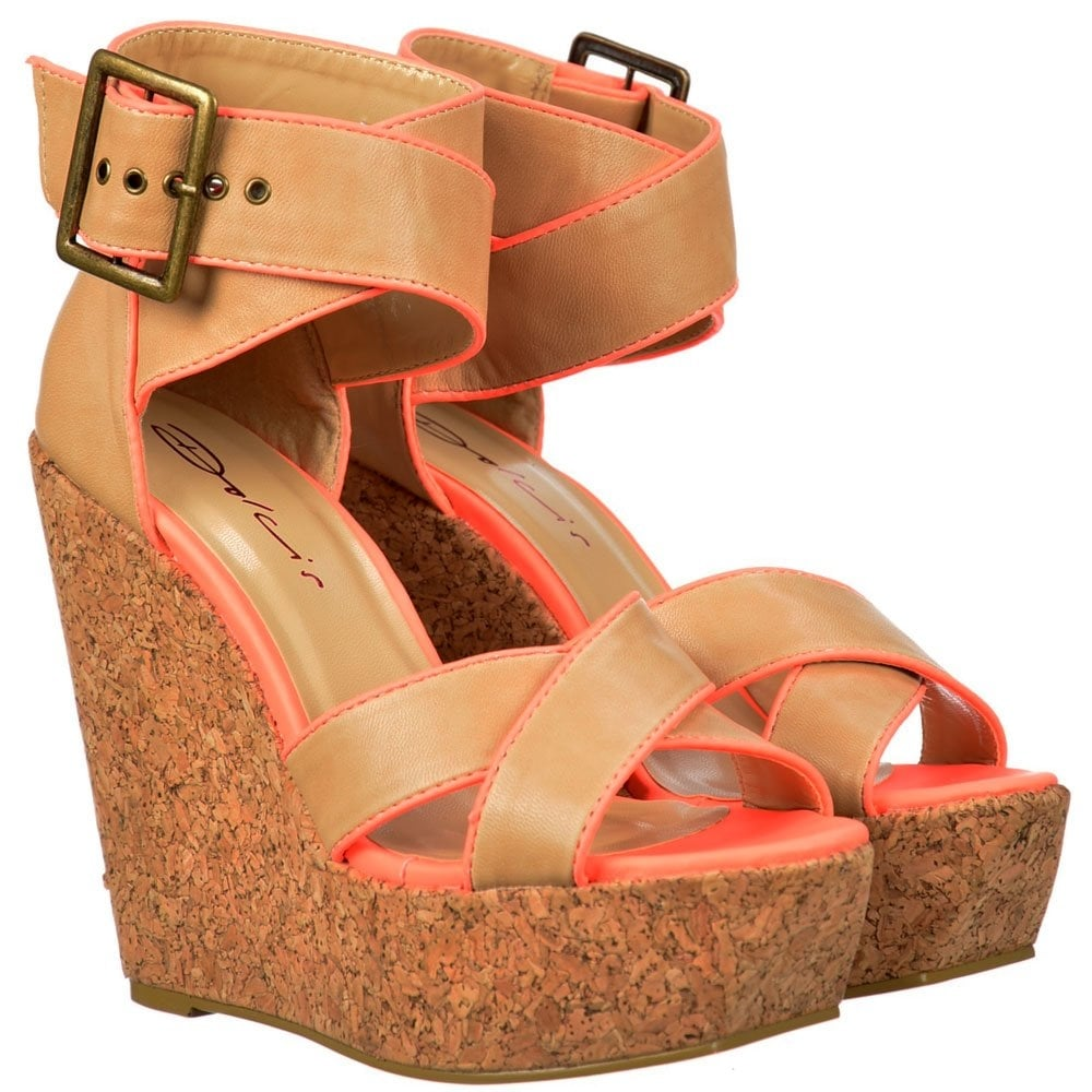 9d5b6f8987c Dolcis Peep Toe Cork Wedge Platforms - Cross Over Ankle Strap - Tan   Coral  Pink
