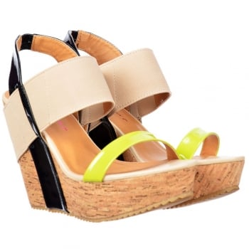 Dolcis Peep Toe Cork Wedge Platforms - Elastic Strappy Three Tone - Lime / Black / Beige