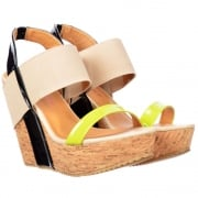Peep Toe Cork Wedge Platforms - Elastic Strappy Three Tone - Lime / Black / Beige