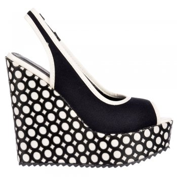Dolcis Peep Toe Slingback - Decorated Wedge Sandal - Black, White