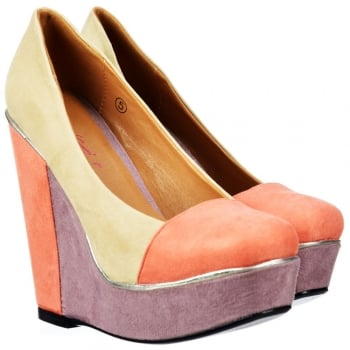 Dolcis Platform Wedge Multi Coloured - Metallic Trim - Nude Coral Lilac