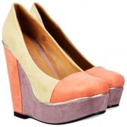 Platform Wedge Multi Coloured - Metallic Trim - Nude Coral Lilac