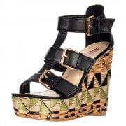 Raffia Print Wedge Summer Sandal - Triple Buckle