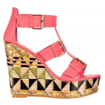 Dolcis Raffia Print Wedge Summer Sandal - Triple Buckle