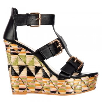 Dolcis Raffia Print Wedge Summer Sandal - Triple Buckle - Pink, Black