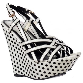 Dolcis Strappy Wedge Platforms - Black and White Polka Dot