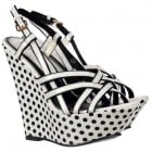 Strappy Wedge Platforms - Black and White Polka Dot