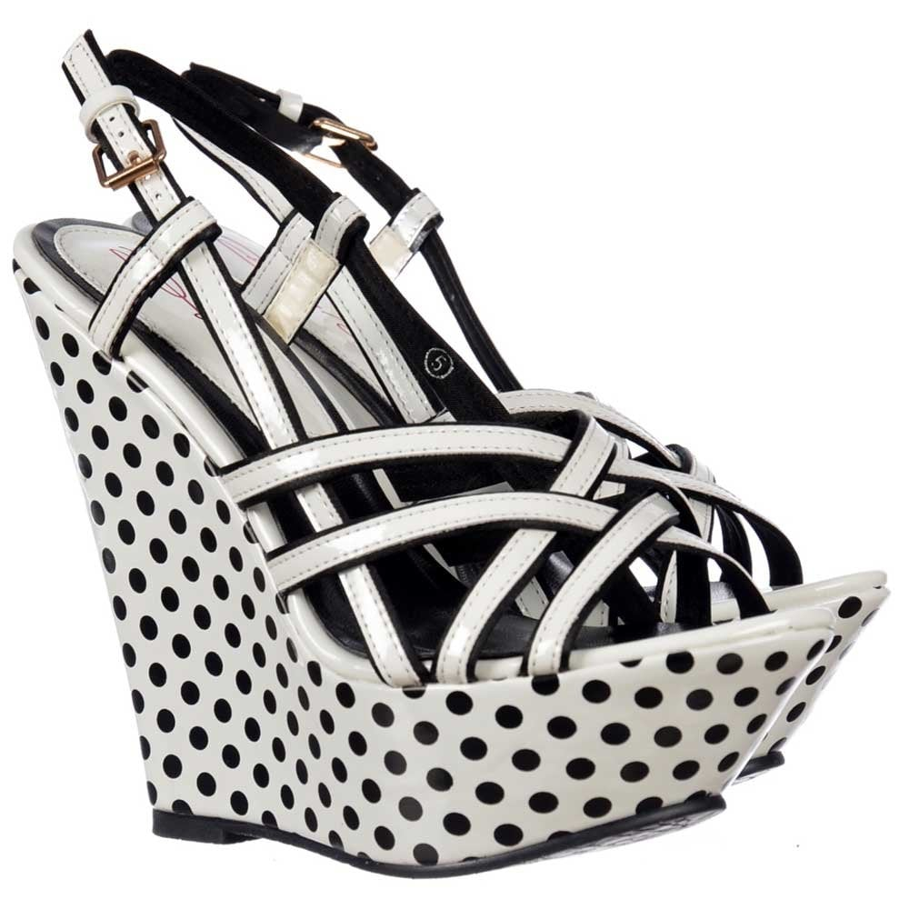 34aa0dae54f Dolcis Strappy Wedge Platforms - Black and White Polka Dot - Dolcis ...