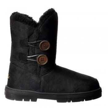 Ella Double 2 Button Fully Fur Lined Flat Ankle Winter Boot - Grey, Chestnut, Brown, Black
