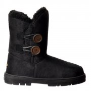 Double 2 Button Fully Fur Lined Flat Ankle Winter Boot - Grey, Chestnut, Brown, Black