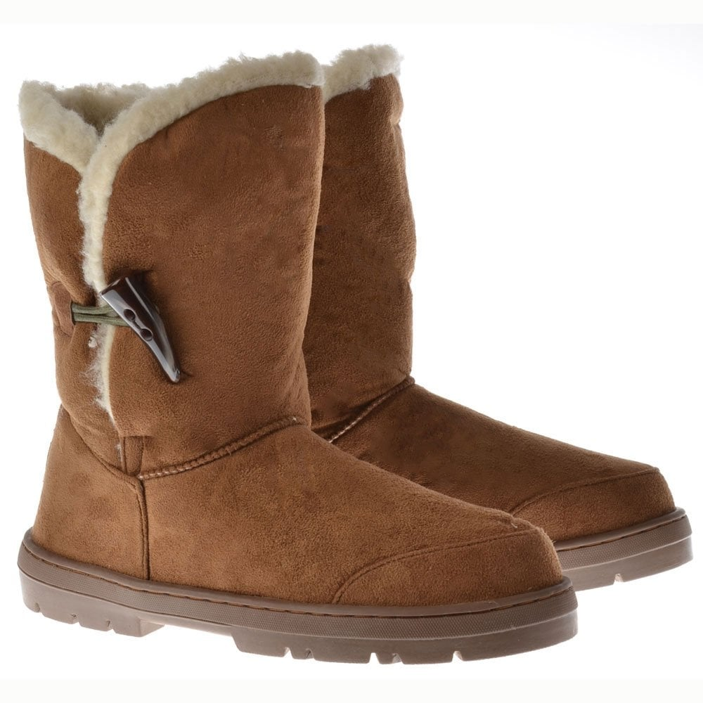 Ella Fur Lined Flat Toggle Button Ankle Winter Boot - Chestnut Brown,  Black. ‹