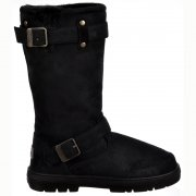 Fur Lined Flat Winter Snow Boot - Biker - Chestnut Brown, Black, Dark Brown, Grey