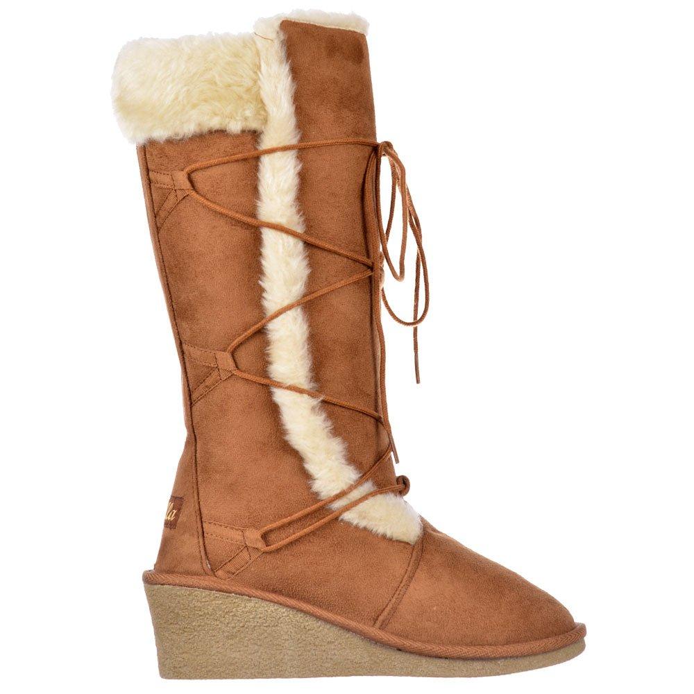 Ella Fur Lined Laced Winter Snow Boot - Wedge Heel - Black