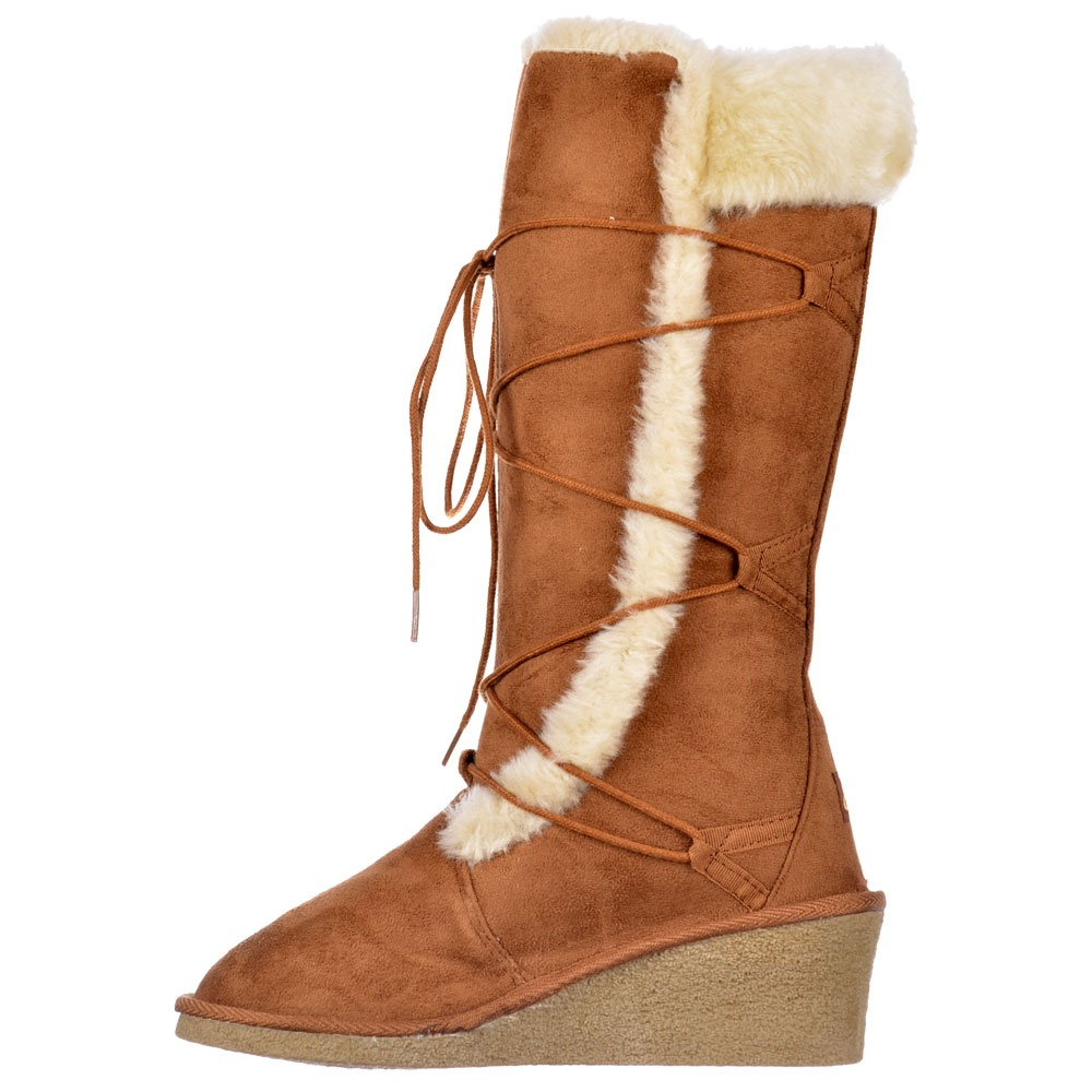 Ella Fur Lined Laced Winter Snow Boot Wedge Heel Black