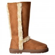Fur Trimmed Fur Lined Flat Winter Snug Boot - Chestnut Brown, Black, Dark Brown