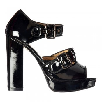 Ella Low Block High Heel Peep Toe - Double Buckle - Black Patent