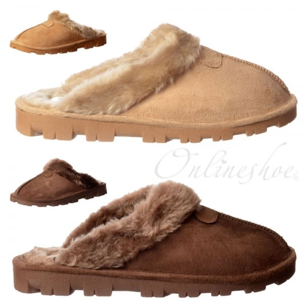85176506322e6 Ella Luxury Fur Lined Slip On Mule Slippers With Hard Wearing Sole ...