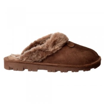 Ella Luxury Fur Lined Slip On Mule Slippers With Hard Wearing Sole - Brown, Sand