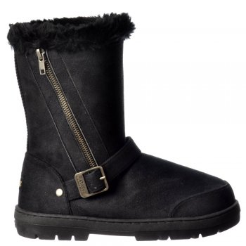 Ella Midi Biker Fur Lined Ankle Flat Winter Snugg Boot - Chestnut Brown, Black, Dark Brown, Grey