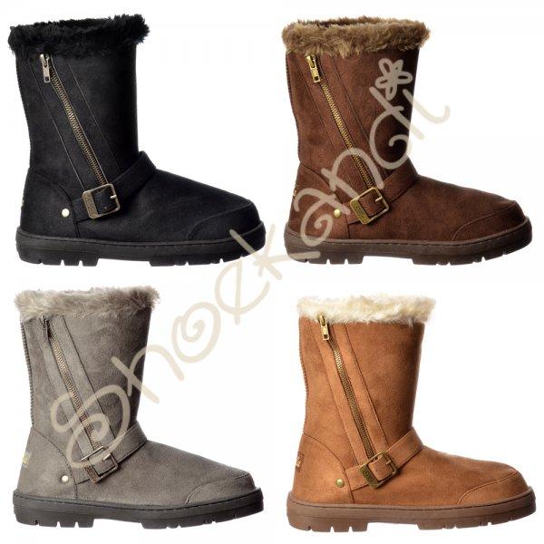 91b5bb1c76fea Ella Midi Biker Fur Lined Ankle Flat Winter Snugg Boot - Chestnut Brown