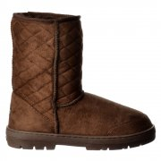 Midi Quilted Fur Lined Flat Ankle Winter Slouch Boot - Chestnut Brown, Brown, Black