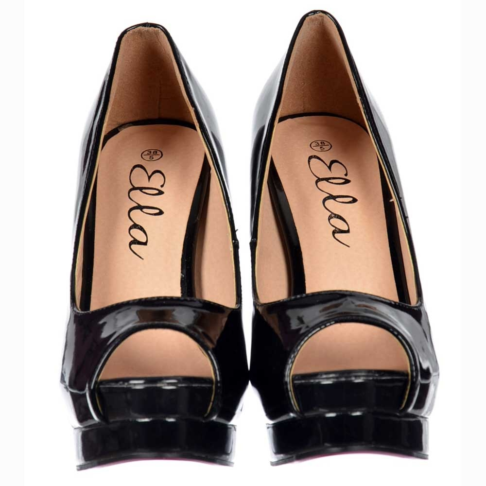 60e116245 ... Ella Peep Toe Platform High Heel Stiletto Shoes - All Occasion - Black  Patent ...