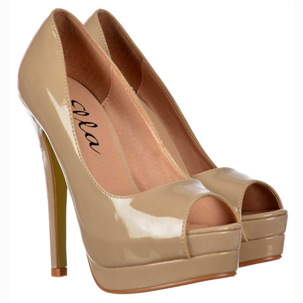 ella peep toe platform high heel stiletto shoes all occasion nude patent ella from. Black Bedroom Furniture Sets. Home Design Ideas