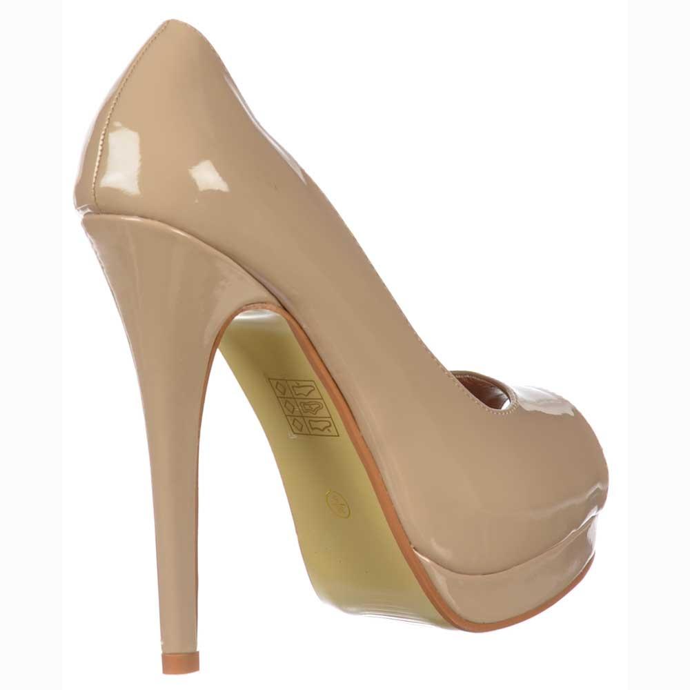 Nude Peep Toe Platform Heels - Is Heel