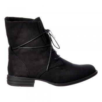 Ella Short Lace Up Fur Lined Flat Suede Ankle Boot - Black, Dark Brown