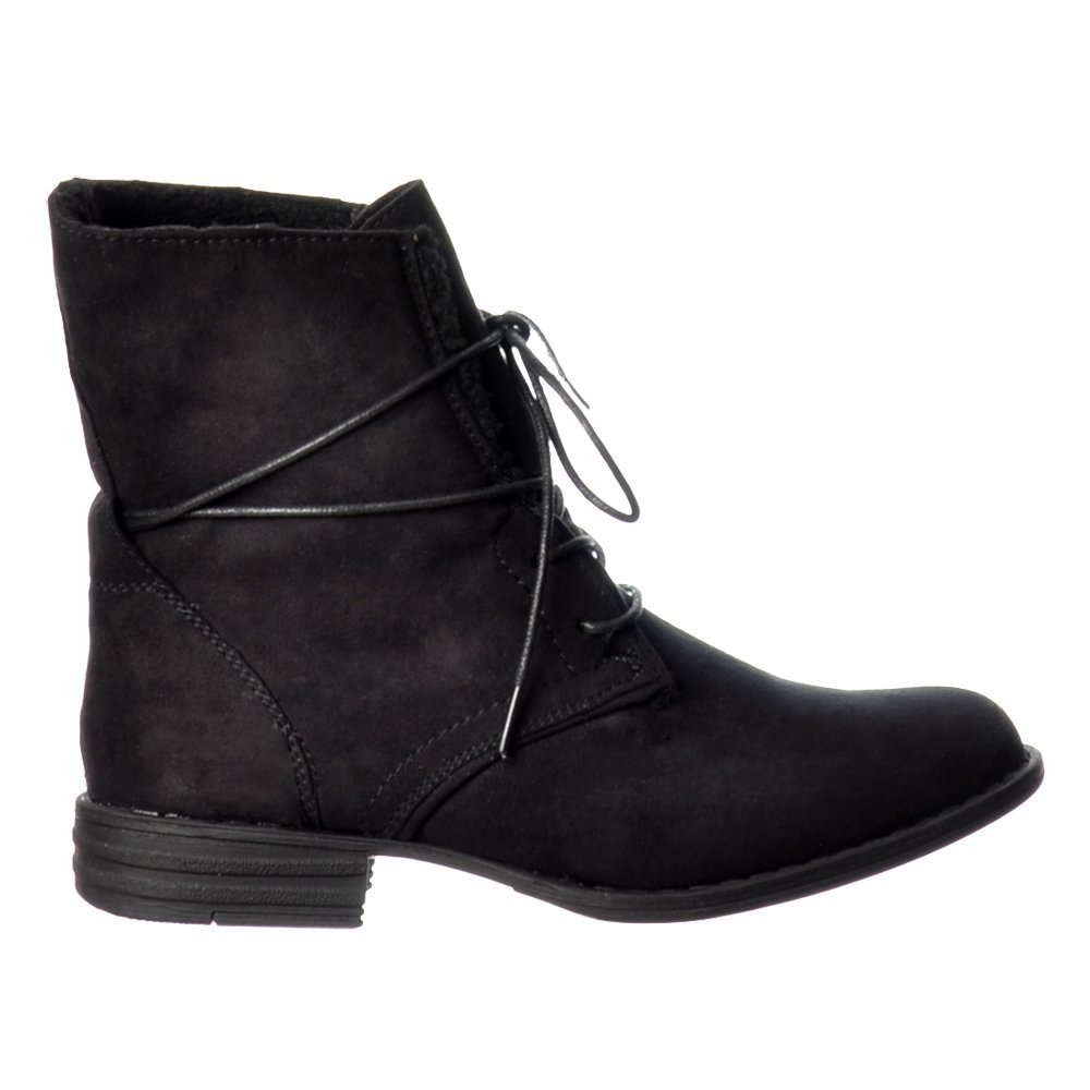 ella lace up fur lined flat suede ankle boot black