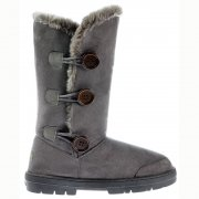 Triple 3 Button Fur Lined Flat Winter Boot - Chestnut Brown, Black, Grey, Dark, Brown