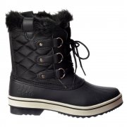 Warm Fur Fleece Lined Flat Ankle Ski Snow Boot - Black, White, Brown, Tan