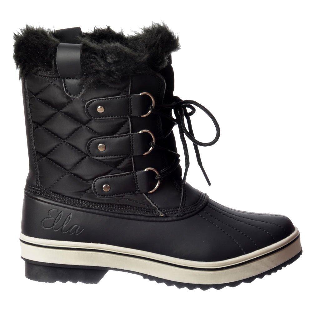 ella warm fur fleece lined flat ankle ski snow boot