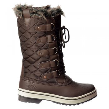 Ella Warm Fur Fleece Lined Flat Mid Calf Ski Snow Boot - Black, White, Brown, Tan