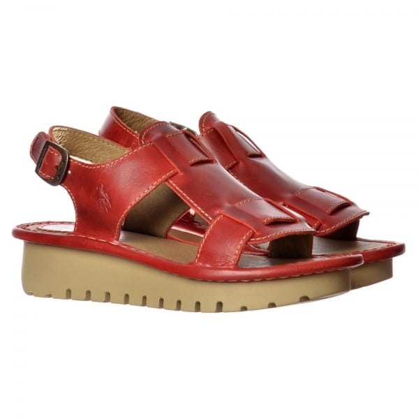 Fly London Kani Wedge Open Toe Sandal Cleated Sole Rug