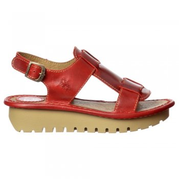 Fly London Kani Wedge Open Toe Sandal - Cleated Sole - Rug Red, Rug Off White, Rug Black