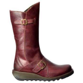 Fly London Mes 2 Calf High Winter Boot Low Wedge Heel Cleated Sole - Purple, Camel, Diesel, Petrol, Black